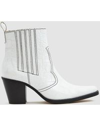Ganni - White Callie 80 Leather Ankle Boots - Lyst