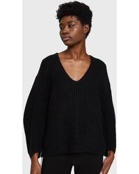 T By Alexander Wang - Chunky Mohair Marl V-neck Sweater - Lyst