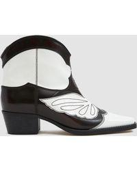 Ganni - Leather Meg Boots - Lyst