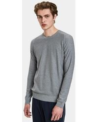 Wings + Horns - Knit Cashmere Crewneck In Heather Grey - Lyst