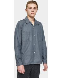 Beams Plus - Open Collar Denim Shirt In Grey - Lyst