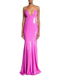 Jay Godfrey - Sequined V-neck Open-back Gown - Lyst
