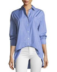 b9960a0b12b29 Lafayette 148 New York - Everson Anthology Shirting Button-down Blouse With  Pocket - Lyst