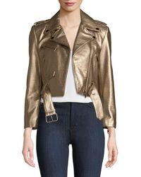 Lamarque - Roberta Metallic Zip-front Leather Moto Jacket - Lyst