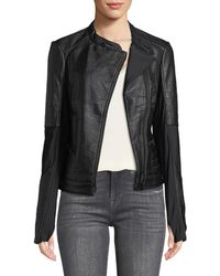 BLANC NOIR - Ryder Faux-leather Moto Jacket With Stretch-knit Inserts - Lyst