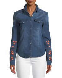 Etienne Marcel - Long-sleeve Snap-front Stretch-denim Shirt W/ Floral-embroidery - Lyst