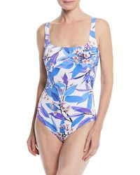 Gottex - Sakura Square-neck Ribbed Floral-print One-piece Swimsuit - Lyst