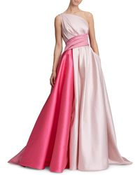Marchesa - One-shoulder Draped Bow-back Colorblock Gown - Lyst