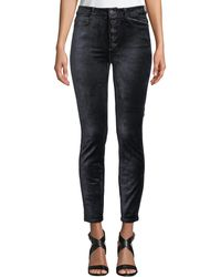 PAIGE - Hoxton Velvet Ankle Skinny Jeans With Button Fly - Lyst