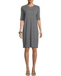 Eileen Fisher - Seaside Striped Half-sleeve Organic Linen Dress - Lyst