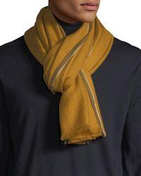 Ermenegildo Zegna - Men's Solid Cashmere Scarf With Contrast Trim - Lyst
