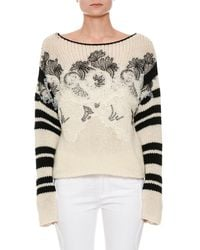 Ermanno Scervino - Long-sleeve Floral-embroidered Sweater With Lace Trim - Lyst