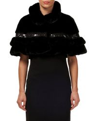 Gorski - Mink Fur Ruffled Capelet W/ Leather And Lace Trim - Lyst