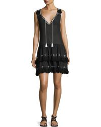 Queen & Pawn - V-neck Sleeveless Cotton Dress With Embroidery & Fringe - Lyst