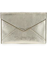 Rebecca Minkoff - Leo Metallic Leather Clutch Bag - Lyst