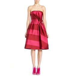 Carolina Herrera - Strapless Wide-stripe Cocktail Dress - Lyst