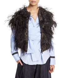 Brunello Cucinelli - Cap-sleeve Zip-front Cashmere Cardigan With Feathers & Sequins - Lyst