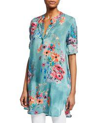 71372e6a80c Tolani - Skylar Floral-print V-neck Long-sleeve Tunic - Lyst