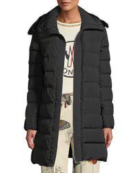 Moncler - Lionette Long Puffer Coat W/ Fur Trim - Lyst