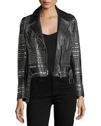 Nour Hammour - Elysee Studded Leather Moto Jacket - Lyst