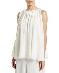 1b2df3eeb45a Donna Karan Sleeveless Wrap Blouse Bodysuit in White - Lyst