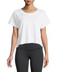 Monrow - Raw-edge Scoop-neck Side-stripe Sweatshirt Top - Lyst