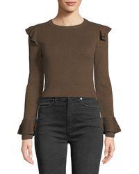 Alice + Olivia - Ruffle Detail Sweater - Lyst
