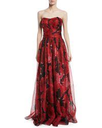 Pamella Roland - Strapless Floral-print Mesh Organza Evening Gown - Lyst