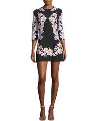 Dolce & Gabbana | Jewel-neck A-line Crepe Dress With Lace Applique | Lyst