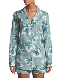 Desmond & Dempsey - Floral-print Classic Short Pajama Set - Lyst