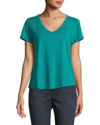 Eileen Fisher - Short-sleeve Organic Cotton V-neck Shirttail Tee - Lyst