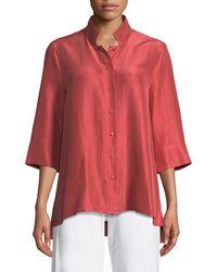 Eileen Fisher - 3/4-sleeve Silk Doupioni Shirt - Lyst