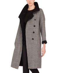 Houndstooth Reversible Akris Lyst Button Stand Coat Terrance Wool Collar Panel cS7aTASq