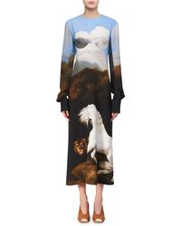 Stella McCartney | Cassandra House-print Bustier Midi Dress | Lyst