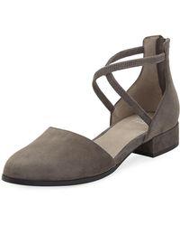 Eileen Fisher - Lyton Suede Low-heel Ankle-wrap Flats - Lyst