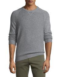Neiman Marcus - Men's Tuck-stitch Cashmere Crewneck Sweater - Lyst
