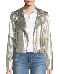 Cupcakes And Cashmere - Brooklee Foiled Faux-suede Moto Jacket - Lyst
