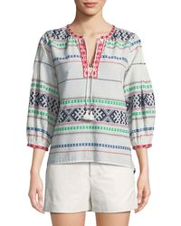 Joie - Jenollina Embroidered V-neck Top - Lyst