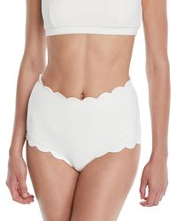 Marysia Swim - Santa Monica High-waist Scalloped Swim Bikini Bottom - Lyst