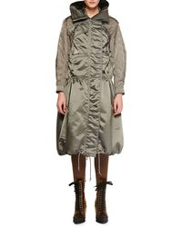Chloé - Belted Shiny Nylon Canvas Knee-length Coat W/ Horse Sleeve Detail - Lyst