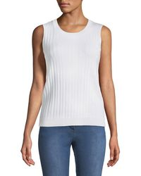 St. John - Monica Jewel-neck Ribbed Shell - Lyst