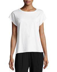 Eileen Fisher - Short-sleeve Bateau-neck Jersey Top - Lyst