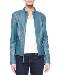 Neiman Marcus - Washed Lambskin Leather Jacket - Lyst