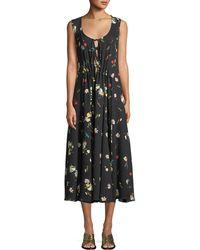 Derek Lam - Sleeveless Scoop-neck Botanical Floral-print Silk Dress - Lyst