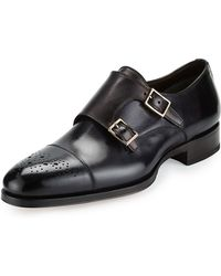 Tom Ford - Austin Double-monk Strap Leather Loafer - Lyst