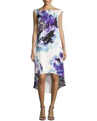 Trina Turk - Kindered Cap-sleeve Peony-print Hi-low Dress - Lyst