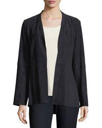 Eileen Fisher - Soft Suede High-collar Jacket - Lyst