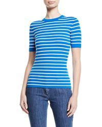 Michael Kors - Crewneck Short-sleeve Striped Stretch-viscose Top - Lyst
