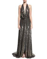 Jenny Packham - Molten Sequin Halter Gown - Lyst