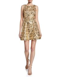 Alice + Olivia - Lindsey Gold Sequin Mini Dress - Lyst